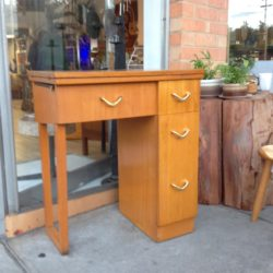 1950s maple veneer atomic study desk sewing cabinet